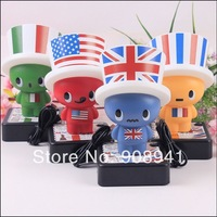 6 LED Cartoon National Flag Hat Light USB/Battery USA / UK / Italy /France Hat with Night Lamp Bedside Table Decoration Cap Lamp