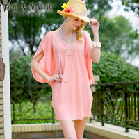 Lovable Secret - Chiffon one-piece dress summer 2014 deep pink loose elegant of female chiffon one-piece dress  free shipping