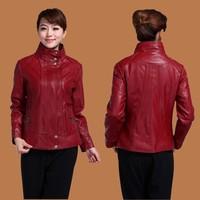 free shipping 2015 new fashion plus size 6XL leather jacket women large size M-6XL jacket woman PU leather jackets coat womens