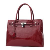 Tosoco 2014 women's handbag crocodile pattern japanned leather bag lockbutton handbag vintage platinum bag 42645