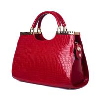 Gold blue butterfly 2014 japanned leather crocodile pattern handbag ladies fashion handbag elegant women's portable bag