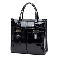 Tosoco 2014 women's bag fashion handbag women's handbag check bright japanned leather big bag