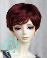 Free Shipping 1/3 Short Reddish Brown Curly Mohair Doll Wig For Fashion BJD / SD Wig For Gifts, Doll Hair