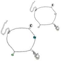 Female summer fresh full rhinestone pearl bracelet anklets - fairy