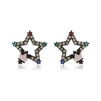 Star accessories full rhinestone five-pointed star earrings stud earring