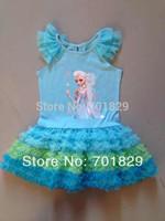 2014 fashion summer children princess dress Frozen Girl Print Dress Brand Elsa Anna Princess Party girls Tutu Dress 5PCS/Lot