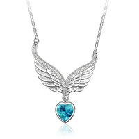 Wings peach heart crystal necklace - devil