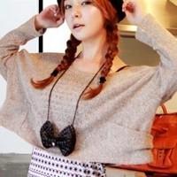 Fashion elegant black big bow necklace