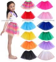 1pc Mini Toddler Girl Baby Kid's Chiffon Tutu Skirt Ballet Dance Wear Party 3 Layer Tulle Princess Pettiskirt 4-7Y (14 Colors)