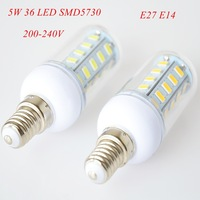 4pc/lot E27 E14 5W LED Bulb 36 LED SMD5730 220-240V Corn Bulb Lamp White / Warm White 360 degree with Cover Free shipping