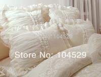60S Classic Korean  satin jacquard luxury lace embroidery romantic princess Dream bedding sets 6pcs/bedclothes/ comforter sets