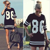 Summer 2014 Harajuku Hot Sale Women Long Shirts Digital Print Europe America Style Loose Fit Street Wear Navy Style Crop Tee
