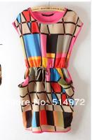 New Arrival Fashion Summer Women Sleeveless Chiffon Irregular National Wind Color Grid Dress 2Pcs/Lot Free Shipping