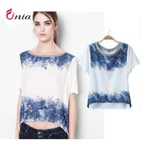Free shipping new 2014 spring summer cotton positioning printing loose casual short-sleeved round collar women T-shirt#6472