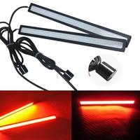 2pcs/ LOT Daytime Running Light  for Universal Cars Ultra Thin Design Waterproof  IP65 Red 12V COB Auto LED Light 17CM