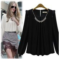 free shipping!New  fashion star style neckline diamond necklace decoration long  sleeve chiffon shirt loose Blouse