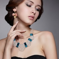 Luxury fashion star fashion dinner accessories all-match rhinestone studded multi-layer big necklace short necklace