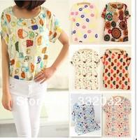 2014 New Fashion Vintage Spring Summer Digital Printing Women's Short Sleeve T-shirt Chiffon Shirt Printed Tee 21 color T Shirts