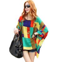 Latest Fashion Bohemian Batwing Sleeve Chiffon Blouse Loose Three Quarter Sleeve L Free Shipping