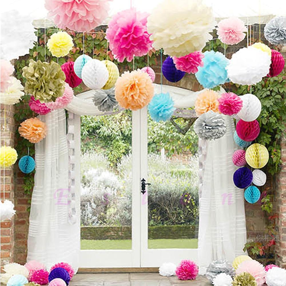 Paper Flower Balls For Wedding Paper Pom Flowers Balls Wedding Party Decor In Decorative Flowers