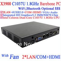 Barebone desktop computers with diskless boot Walk on lan support two RJ45 HDMI RS232 INTEL C1037U dual core 1.8Ghz Alluminum