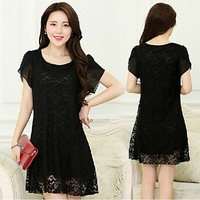 S-XXXXL women's clothes large sizes Fashion Black Sexy Party Dresses Evening Lace Dress women summer Long Sleeve lace Dress