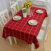 simple european modern oblong cotton  table cloth  red color plaid 140*180cm