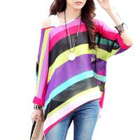 New Fashion Bohemian Batwing Sleeve Chiffon Blouse Stripe  Loose Off The Shoulder  L Free Shipping