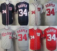 Free shipping Discount Washington Nationals #34 Bryce Harper baseball Jersey blue, white,grey,red  cheap men jerseys