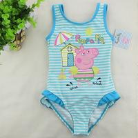 2014 summer peppa pig lovely children swimwear ruffle lovely princess Beautyful bikini bathing suit baby girls swimsuit