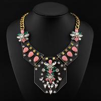 shourouk necklace short design gem vintage Acrylic fashion necklace Statement necklaces & pendants for women jewelry 2014