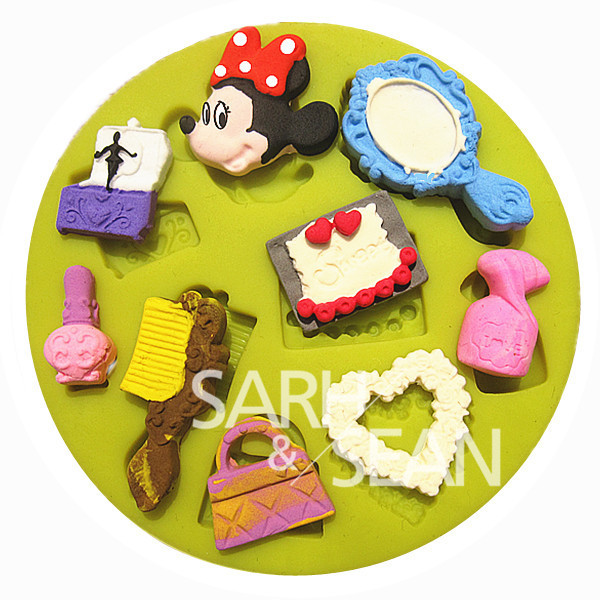 3D M0240 makeup essentials comb mirror bag fondant cake molds soap chocolate mould for the kitchen baking(China (Mainland))