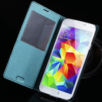 Newest Luxury Leather View Case For Samsung Galaxy S5 SV i9600  Flip Cover Open Window With Wake up Sleep Function