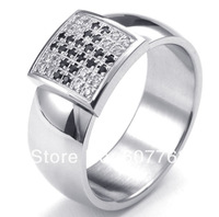 2014 New 316L Stainless Steel Prong Setting Full  CZ Crystals Cross Wedding Ring SZ#8-13