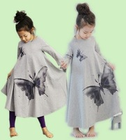 Children dresses girls big butterfly horn dress