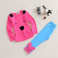 2014 New children girl's clothes sets cotton Kids naughty rabbit suit | jacket + pants girls clothing sets kid