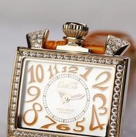 Wooden box orange women's watch square watch elegant strap table gaga popular table 289 g1