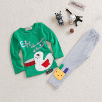2014 New children girl's kids clothes sets cotton Duck long sleeved suit | jacket + pants girl's clothing sets