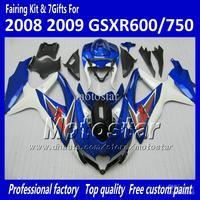 Bodywork fairings GSXR 600 750 2008 2009 2010 K8 GSXR600 GSXR750 08 09 10 GSX-R 600 750 glossy black blue Fairing kit XX76