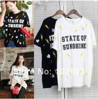 Korean Version Retro Love Lightning Printing Slim Short-sleeved T-shirts Harajuku Style Hip-hop Fashion Women Apparel, 2 color
