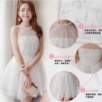 Summer sweet women's pearl halter-neck racerback princess gauze strapless slim chiffon one-piece dress