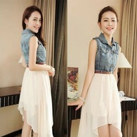 2014 summer female denim patchwork chiffon one-piece dress sleeveless tank dress slim chiffon one-piece dress