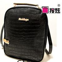2014 pu handbag backpack embossed leather metal plate wave cool shoulder bags crocodile pattern shoulder bag Europe and America