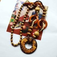 All-match ! fashion wool vintage pendant necklace pendant long design wooden necklace female accessories