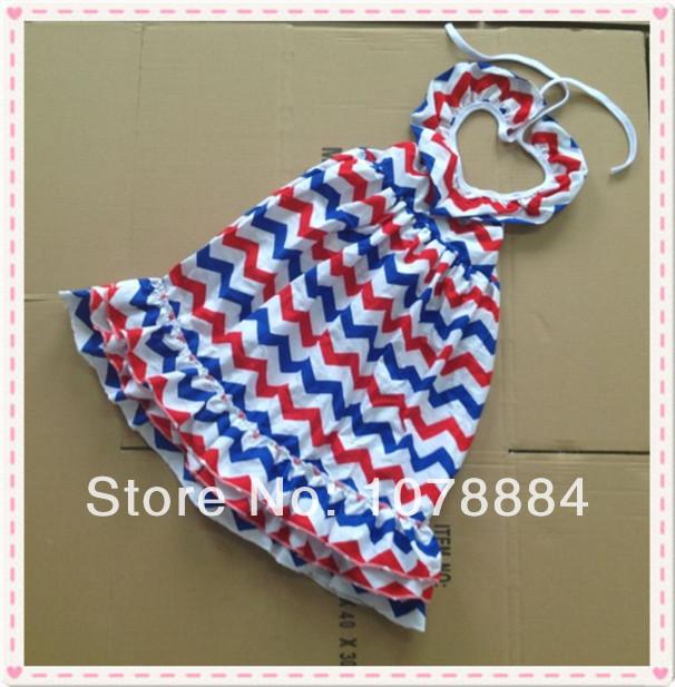 Baby Clothes Chevron Peasant dress Fourth of July maxi chevron dress American Patriotic Girls chevron dress(China (Mainland))