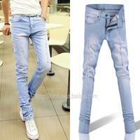Spring slim jeans sky blue light color hole skinny jeans pencil hole beggar pants