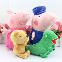 Retail  4pcs/set  30CM  Peppa pig plush Peppa and George grandpa AND grandma   Peppa teddy Bear and Geroge Dinosaur