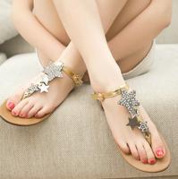 Free shipping Hot-selling 2014 new arrival comfortable flat rhinestone sandals,girl sexy heels sandals,designer women Flip Flops
