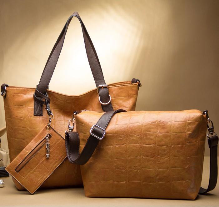 Fashion Women's Leather Handbag Stone grain Wax oil skin totes buy 1 get 3 bags! female shoulder cross-body bag large capacity(China (Mainland))