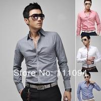 Men's clothing base free ship 2014 Spring Korean Fashion Long-sleeved Slim Fit Shirts For Men male Tops 4 Color 4 Size